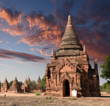 View To The Ruins At The Valley Of Bagan With Its Ancient Buddhist Pagodas, Myanmar (Burma)