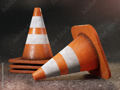 Obraz Set of grunge road cones - fototapety do salonu