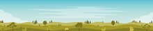 Beautiful Fields Landscape With A Green Hills, Trees, Bushes. Rural Landscape. Countryside Background Horizontal Banner Template. Vector Flat Illustration.