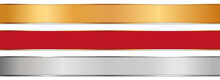 Long Gold, Silver And Red Ribbon Banners With Gold Frame On White Background