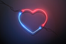Red And Blue Light Neon Heart