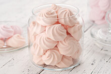 Homemade Marshmallows In A Glass Jars. Homemade Healthy Sweets, Delicious Dessert.
