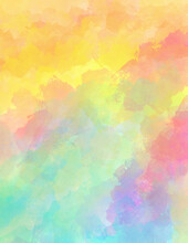 Abstract Colorful Background In Digital Watercolor Paint, Sunrise Or Sunset Sky Colors For Easter, Watercolor Texture In Yellow Pink Blue Purple Orange And Blue Green Color Design
