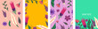 Set of bright banners with floral decorative elements. Template for cards, placard, cover, wallpaper, wrapping paper. Vector art illustration