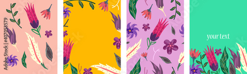 Fototapeta Set of bright banners with floral decorative elements. Template for cards, placard, cover, wallpaper, wrapping paper. Vector art illustration obraz