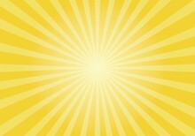 Sun Rays Retro Vintage Style On Yellow Background,  Sunburst Vector Illustration