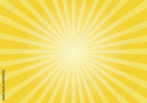 Valokuvatapetti Sun rays Retro vintage style on yellow background,  sunburst Vector illustration