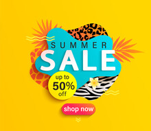 Summer Sale Banner With Animal Print, Hot Season Discount Poster With Tropical Leaves And Price Off Offer.Invitation For Shopping With 50 Percent Off, Special Offer Card, Template For Design.Vector