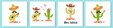 Funny Cactus With Guitar And Sombrero On White
