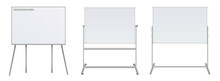 Empty Flip Chart Blank On Tripod Over White Background. Office Whiteboard For Business Training In Office