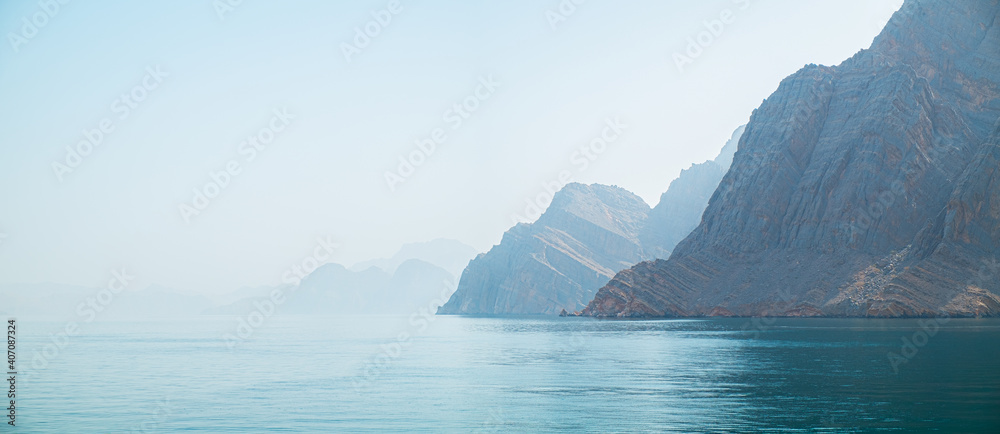 Fototapeta Sea tropical landscape with mountains and fjords, Oman