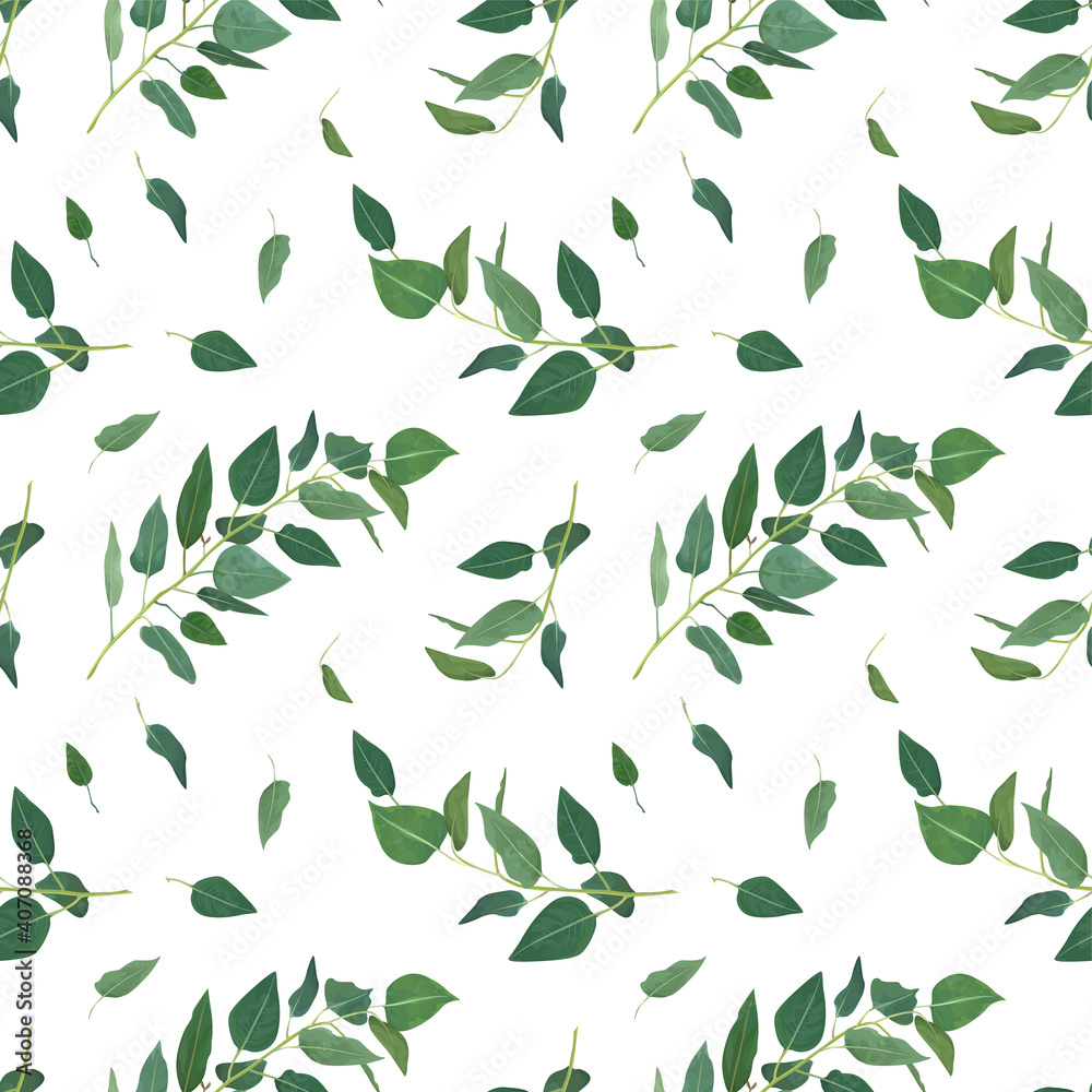 Fototapeta Vector eucalyptus tree branches, greenery leaves, green foliage, seamless pattern. Rustic, natural, floral, watercolor style textile fabric, backdrop, texture, background. Classy, minimalist template
