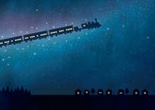 銀河を走る鉄道水彩