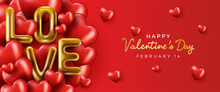 Happy Valentine's Day Banner. Holiday Background Design With Big Heart Made Of Pink, Red Hearts On Black Fabric Background. Horizontal Poster, Flyer, Greeting Card, Header For Website. Gold Metallic T