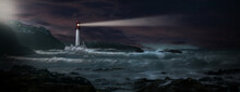 Lighthouse With Beacon On Coast In Stormy Sea With Sailboat On Horizon And Waves