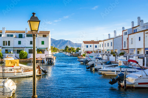 Canvastavla Summer panorama of Empuriabrava with yachts, boats and waterways in Costa Brava,