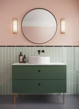 3d Render Of A Modern Salmon Red Bathroom With Green Cabinet And Crystal Wall Lamps Crystal Wall Lamps And A Round Mirror