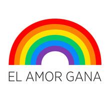 Amor Gana Español - Banner Del Orgullo Bandera Arcoiris