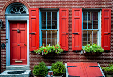 Elfreth's Alley A Historic Street From Colonial Era In Old City, Philadelphia. House With Red Door And Red Window's Shutters. National Historic Landmark.