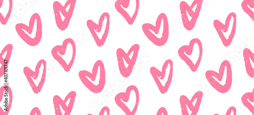 Tableau sur Toile seamless pattern with pink hearts