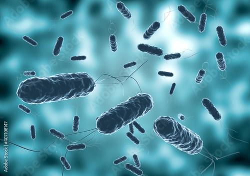 colony of vibrio cholera seen by electron microscope Fotobehang
