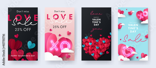 Set of Happy Valentine's Day vertical banners, Sale posters, cards or flyers with Origami Hearts in paper cut style. Design template for advertising, web, social media, stories templates