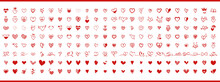 Red Hearts. Big Collection Of Red Hearts Hand-drawn. Set Of Scribble Red Heart Icons Isolated On White Background. Love Symbols. Vector Illustration.