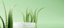 White Marble Podium, Cosmetic Display Product Stand With Aloe Vera Leaf On Green Background. 3D Rendering