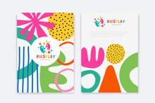 Kids Arts Logo And Stationery Vector. Cute Kids Multi Colored Cover Design For Advertising Brochure, Children Pattern, Kids Menu, Kindergarten Poster, Social Media Post, Website Background.