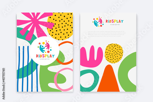Kids Arts logo and stationery vector. Cute kids multi colored cover design for advertising brochure, Children pattern, kids menu, kindergarten poster, social media post, website background.
