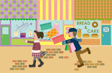 A Girl And A Boy Are Walking Down A Shopping Street.