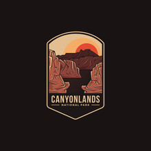Emblem Patch Logo Illustration Of Canyonlands National Park On Dark Background
