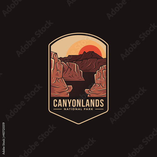 Canvas Emblem patch logo illustration of Canyonlands National Park on dark background