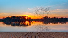 Silhouette Of Birds Flying Above The Blue Lake, Wooden Pier In The Background At Amazing Sunset