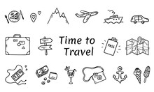 Time To Travel Elements In A Hand Drawn Doodle Style. Vector Set Of Vacation And Travel Symbols. Sketch Line Art. Black Outlines Isolated On A White Background. Summer Adventure Icons.