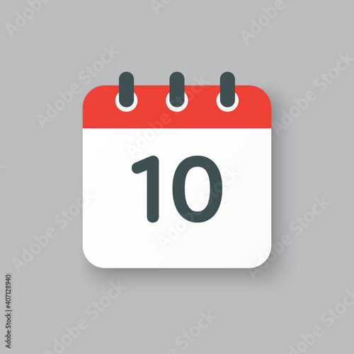 Obraz Vector icon calendar day number 10, 10th day month - fototapety do salonu