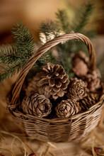 Pine Cones In A Basket