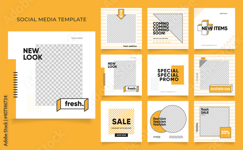 Obraz social media template banner blog fashion sale promotion. fully editable instagram and facebook square post frame puzzle organic sale poster. fresh yellow element shape vector background - fototapety do salonu