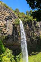 Bridal Veil Falls, New Zealand, Making A Spectacular Plunge 55 Meters Over A Rock Face