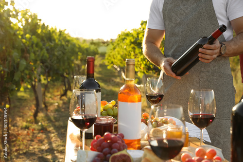 Young man holding bottle of wine in vineyard on sunny day, closeup © New Africa