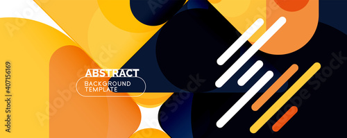 Canvas Modern geometric round shapes and dynamic lines, abstract background