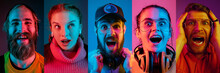 Collage Of Portraits Of Young Emotional People On Multicolored Background In Neon. Concept Of Human Emotions, Facial Expression, Sales. Shocked, Wondered, Astonished, Thinking. Flyer For Ad, Offer