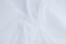 Fabric Background. White Translucent Curtain Tulle.