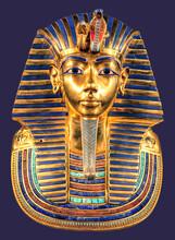 Egyptian Pharoah Tutankhamun's Burial Mask On Blue Background