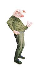 Homme à Tête De Cochon, , Masque, Hybride, Déguisé, Camouflage, , Jeune, Blanc, Gens, Militaire, Content, Personne, Désinvolte, Fun, Bleu, Jaune, Vert, Rouge, Femme, Portrait, Debout, Saut, Petit, Jol