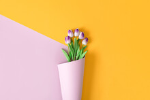 Purple Tulips In A Purple Bouquet Of Wallpaper. Flowers Diagonal Yellow Layout. Creative Background  Valentine's Concept.