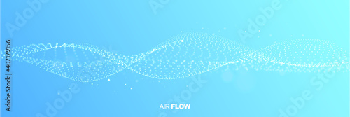 Fototapeta Abstract wave on blue background. Air flow. Particle waves showing a stream of clean fresh air. Vector illustration. obraz