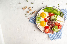 Keto Food: Egg, Avocado, Cheese, Bacon And Fresh Salad. Healthy Nutritious Paleo Keto Breakfast. Banner, Catering Menu Recipe Place For Text, Top View