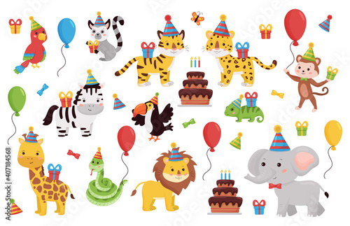 Fototapeta premium Birthday animals set. Cartoon characters collection with gifts, balloons and cake. Kids party design for greeting, invitation cards. African and jungle animals.