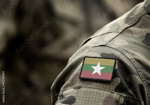 Canvas Print Flag of Myanmar and also known as Burma on military uniform